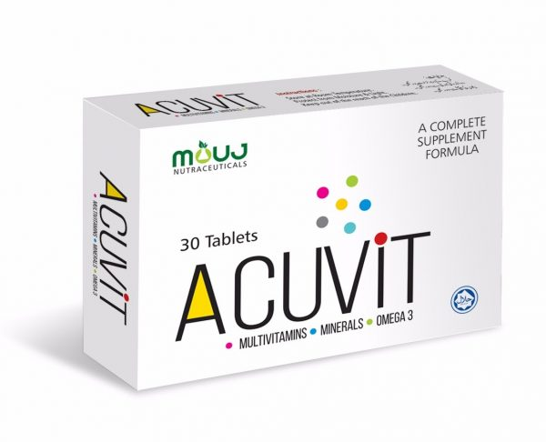 AcuVit Tab (30's) Healthy Growth,Bones,Hair,Nails & Skin Vitamin A,B-1,B2,B6,B12,C,D3,E, Omega3