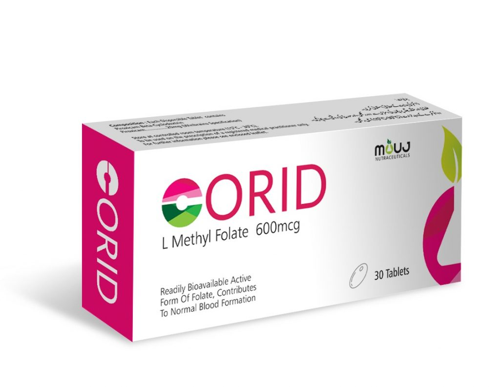 """Corid Tab (30's) """"For Treatment of Low Folate Levels L-Methyl Folate 600mcg"""""""